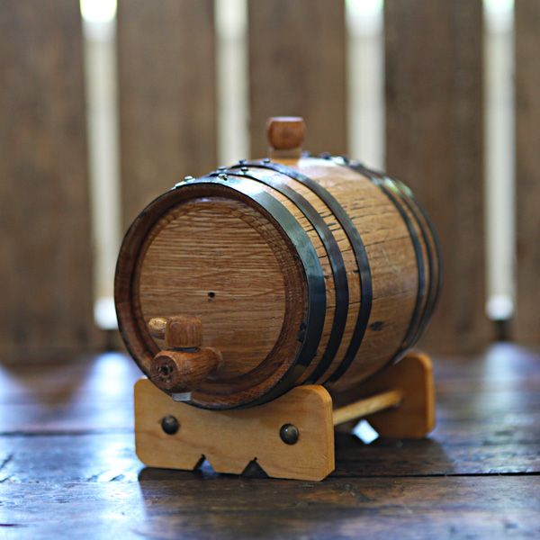 Handcrafted 1-liter Oak Barrel used to age your own beer, wine and liquor at home!  Add years of aging flavor in only weeks.  Age whiskey, bourbon, tequila, scotch, vodka, gin, hot sauce, vinegar, beer and wine!  Great for gifts, dad, grandfather, man room, man cave, home brewer, home distiller and wine maker.  Can be engraved for weddings & groomsmen gifts. $54.99 at www.longhornbarrels.com
