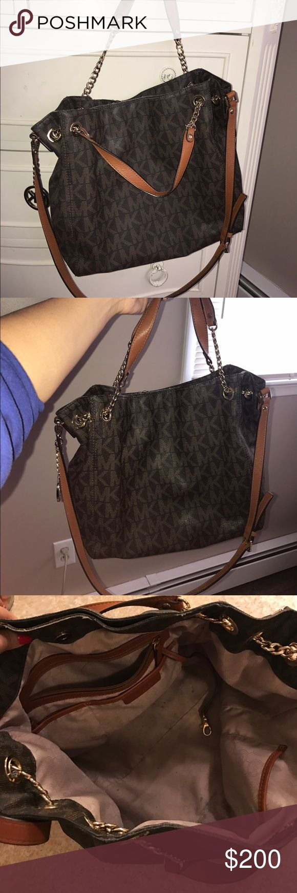 MK bag Brown MK bag. Outside in perfect condition. Inside has a few stains, mostly pen ink stains (used this bag at school) Michael Kors Bags Shoulder Bags
