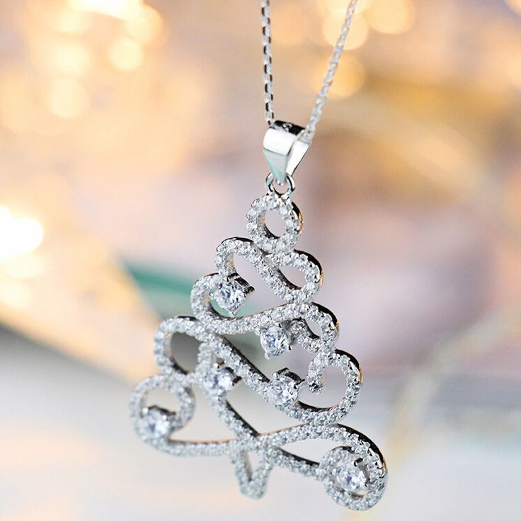 Christmas tree 925 Sterling Silver Necklaces & Pendants For Women Necklace Cubic Rhinestones Sterling Silver Jewelry D76