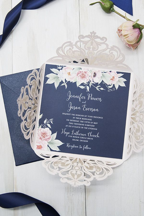 lace wedding invitation wrap%0A Gorgeous navy and blush pink floral watercolor wedding invitation EWDK
