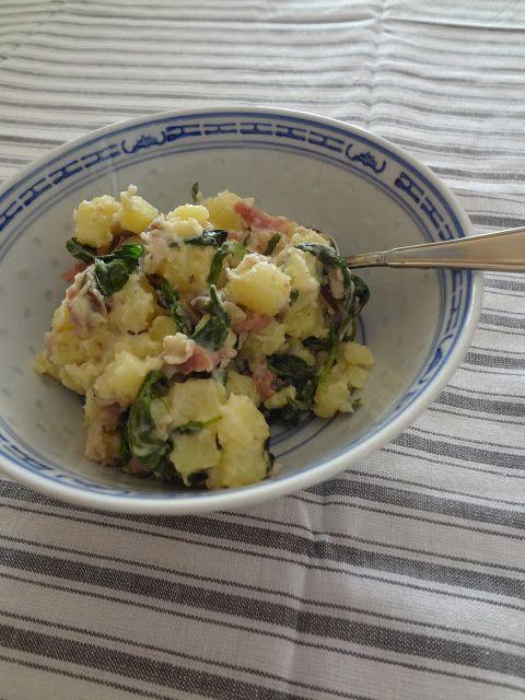 Duizenden1dag: Aardappelsalade met spinazie, spek en paddenstoelen
