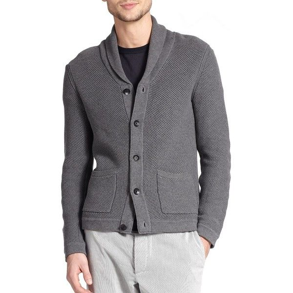 Mens Shawl Collar Sweater, Men Cardigan Outfit. Ver más. Rag  Bone Avery Waffle,Stitch Cardigan (£215) ❤ liked on Polyvore