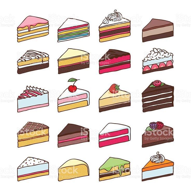 Colorido fatias de bolo doce conjunto de Ilustração vetorial vetor e ilustração royalty-free royalty-free