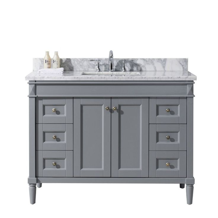 "Tiffany 48"" Single Bathroom Vanity Cabinet Set in Grey                                                                                                                                                      More"