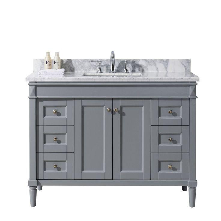 """Tiffany 48"""" Single Bathroom Vanity Cabinet Set in Grey                                                                                                                                                      More"""
