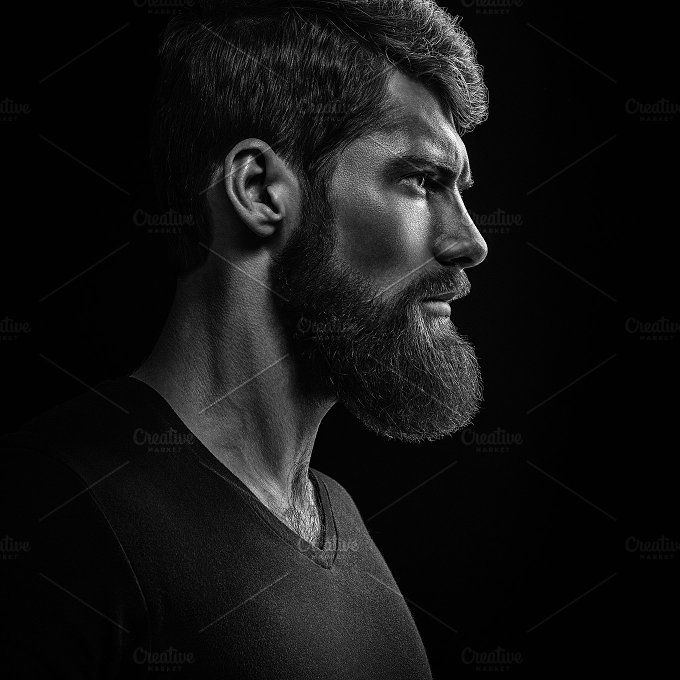 Bearded man looking forward portrait by Usmanov Stock Photography on @creativemarket