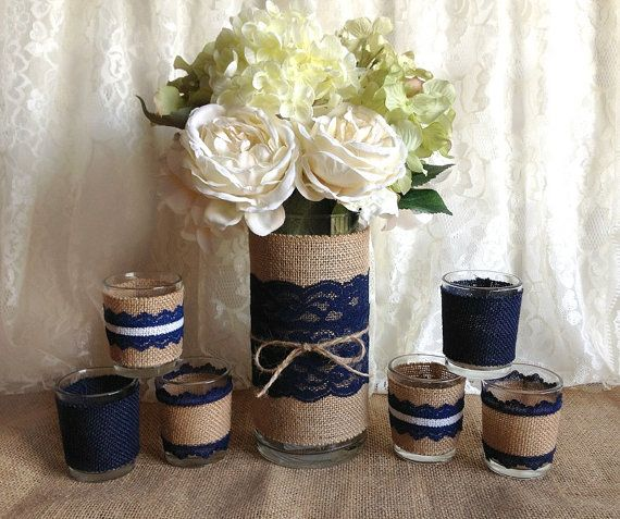 navy blue rustic burlap and lace covered vase and 6 tea candles, wedding, bridal shower, birthday, home decor on Etsy, $49.00
