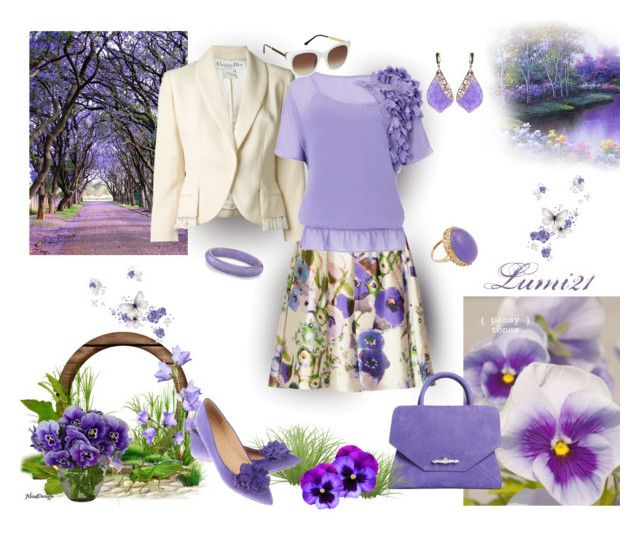 pansies! by lumi-21 on Polyvore featuring Ted Baker, Christian Dior, Lela Rose, Thierry Lasry and J.Crew