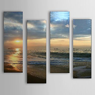 Hand Painted Oil Painting Landscape Sea and Beach  Set of 4 with Stretched Frame 1307-LS0106 – USD $ 179.99