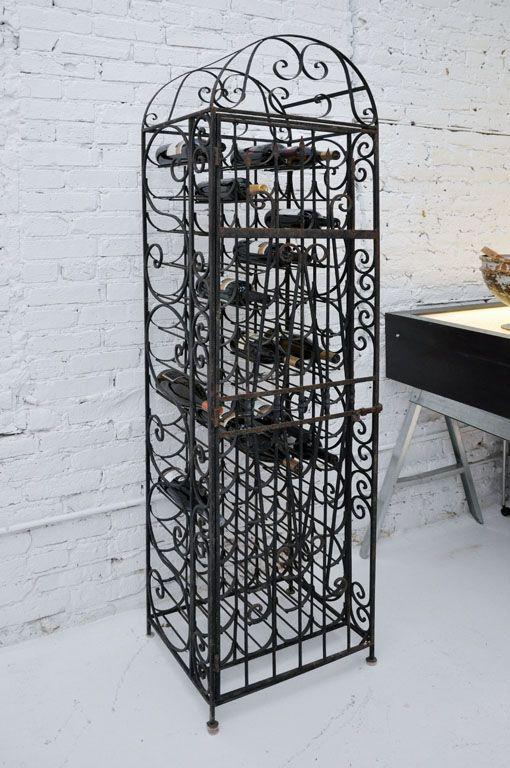 1940 S Handmade Wrought Iron Wine Rack Beautiful
