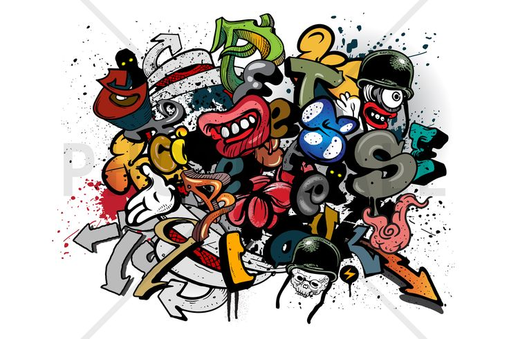 Graffiti Elements - Tapetit / tapetti - Photowall