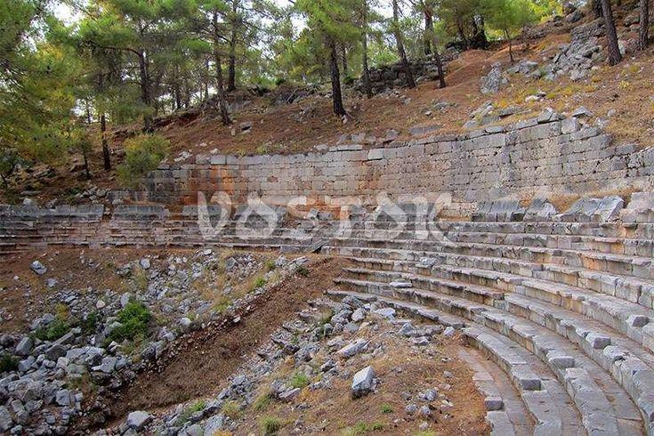 Ruins of Roman theater in Cadianda near Uzumlu http://www.traveltofethiye.co.uk/explore/attractions/uzumlu-village-cadianda-turkey/