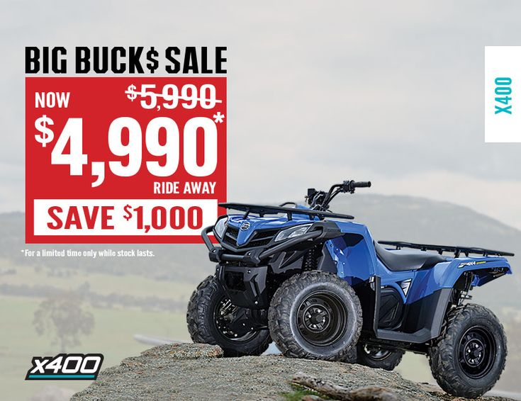 The CFMoto BIG BUCK SALE is now on. For a limited time, grab yourself a CFMoto X4 for only $4990 ride away (Australia wide) - save $1000. Standard features include 400cc liquid cooled EFI engine, Canadian CVTech transmission, selectable 2WD/4WD, independent rear suspension (IRS), disc brakes with braided lines, heavy duty steel racks, hand guards and tow pack. CFMoto ATV/UTV's are the trusted workhorses for more than 15,000 Aussie Farmers. Find out more on –…
