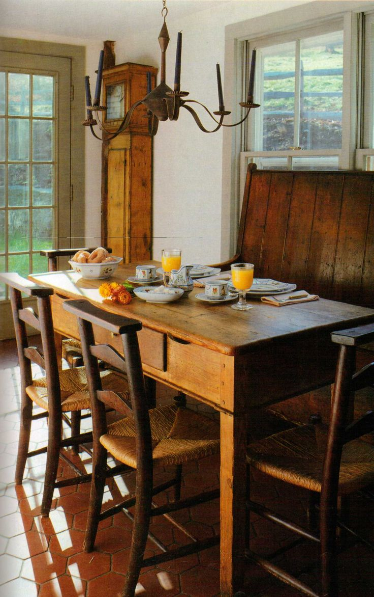301 best images about early colonial primitive looking on for Farmhouse style kitchen table
