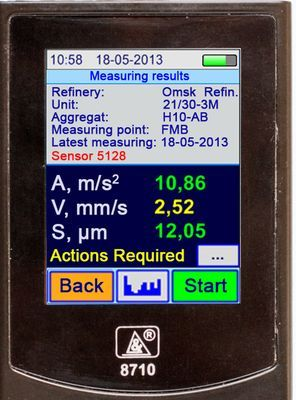 Vibration analyzer screen in the Measuring Results Mode. Numeric values of vibration signal parameters.