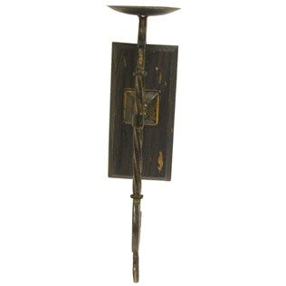 Iron Wall Sconce on Rectangle Wood Piece   Shop Hobby ... on Wall Sconces Hobby Lobby id=75287