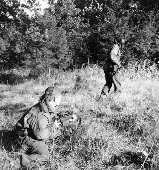 Corporal S. Kormendy covers Sergeant H.A. Marshall, a scout of the Calgary Highlanders, as he moves over open ground near Kapellen, 6 october 1944.