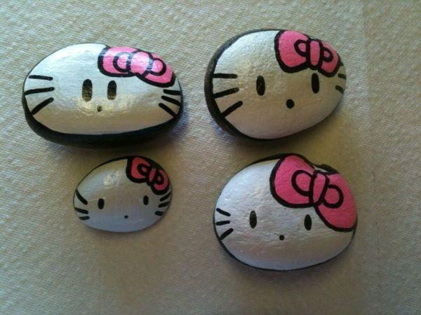 Hello kitty painted stones by mvaleria