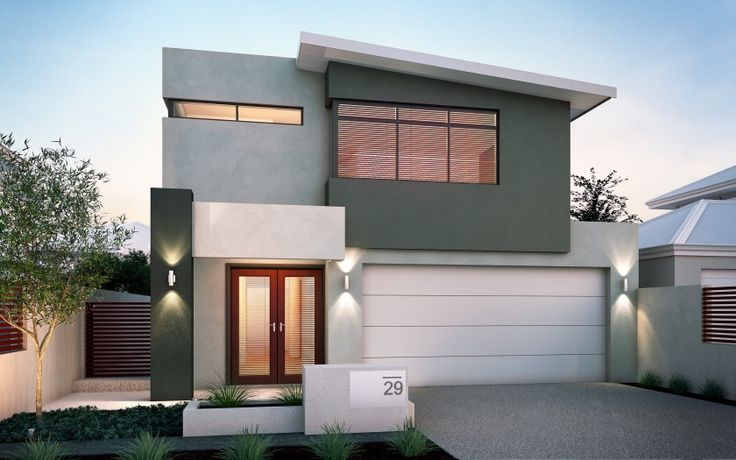 Skillion roof 2 storey google search contemporary for Townhouse exterior design