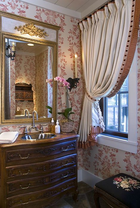 convert an antique into a sink vanity....: Interior Design, Lifestyle Design, Decorating Ideas, Powder Room Design, Window Treatments, Trumeau Mirror, Powder Rooms