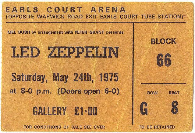 Only in my wildest dreams can I imagine seeing Led Zeppelin for $1.50 in London. So jealous.