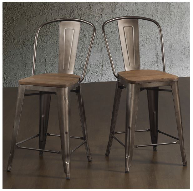 Bar Stools 24 Inches Rustic Wood Metal With Back Kitchen Island Set 2 Iloveliving