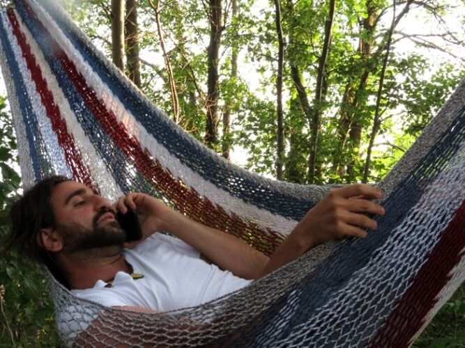 Freedom Culture, Valhalla Movement. Marty's office is the Hammock today  Visit our website at : http://valhallamovement.com  #Hammock #treehouse #ecohome #Earthships #Sustainable #ecovillage #montreal #valhallamovement
