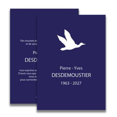 Carte de deuil neutre pour remercier après un décès. Tel un oiseau qui s'envole vers l'infini... La symbolique de cette carte de deuil sera parfaitement adaptée pour remercier vos proches suite au décès d'un être cher.