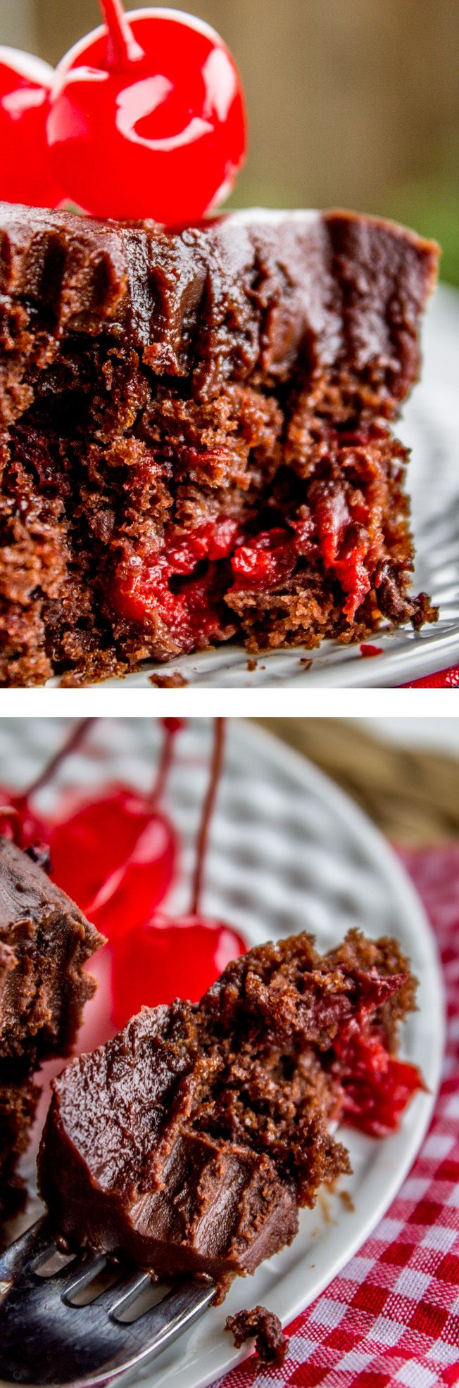 A rich, fudgy chocolate sheet cake studded with cherries! It's super easy, just throw together a cake mix and some cherry pie filling. from The Food Charlatan.