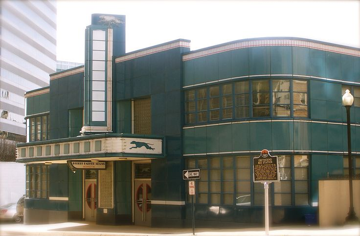 Beautiful blue Art Deco style building in downtown Jackson. It was originally the Greyhound Bus Station, built in 1937-38.