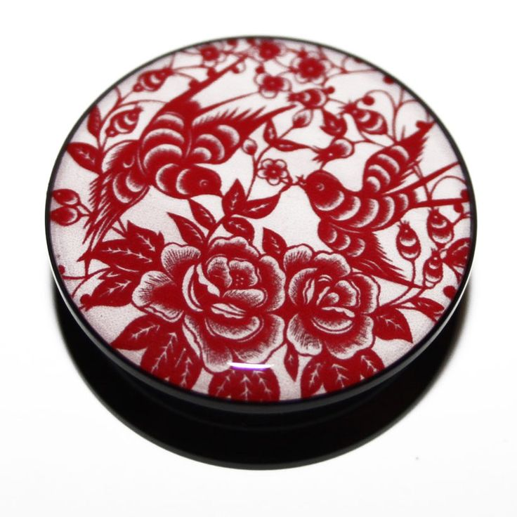 Just Eros / Acrylic PMMA Screw-Fit Red/Pink Oriental Swallows and Roses Ear Plug. From £3.99. http://justeros.com/acrylic-pmma-screw-fit-redpink-oriental-swallows-and-roses-ear-plug #plugs #tunnels #pluglife #stretches #stretchedears #bodymodification