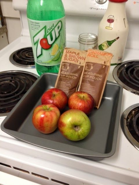 WW Low Point Apple Crisp ... using 4 or 5 apples, 2 pkgs. instant oatmeal, diet pop, a few sprays of simulated butter and a wee bit of brown sugar.  Going to try it out tonight!!