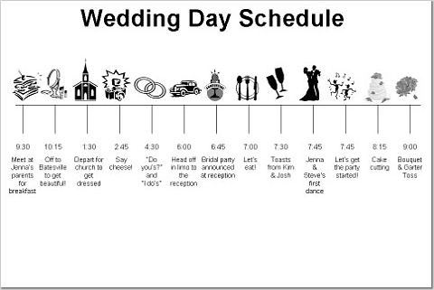 Wedding reception timeline wedding reception timeline b for Wedding day schedule of events template