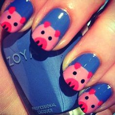 Cute Blue Pig Nails