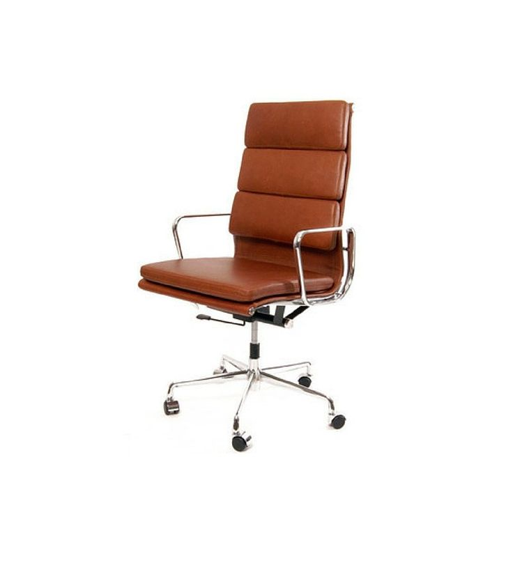 High Back Tan Italian Leather Office Chair inspired by Eames EA219 - Onske