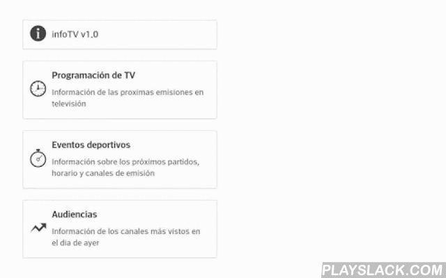 Info Guia TV  Android App - playslack.com , InfoTV es una guía de televisión para España que te ayuda a elegir lo que puedes ver en cada momento de una forma rápida.En Programación general se ve la guia TDT española, con la emisión actual y próximos horarios.En el menu Cine puedes ver las películas que van a ser emitidas en televisión a continuación, con toda la información para elegir la que más te guste de un sólo vistazo, pulsa sobre cada ficha para más información.En el apartado Deportes…