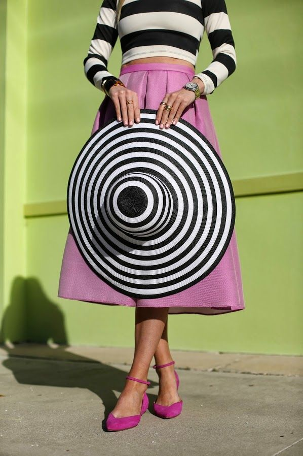 Stripes + stripes, and a big shot of pink.