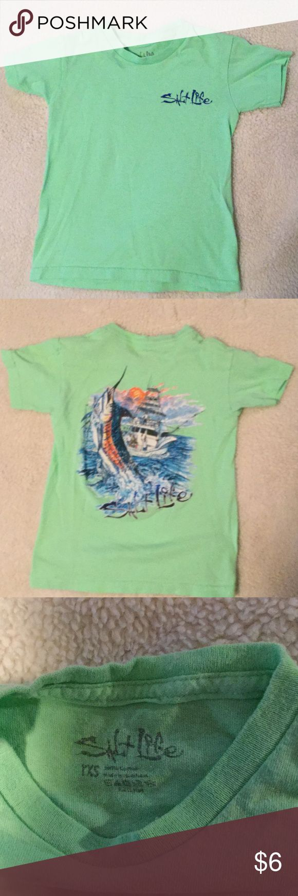 Salt Life T-Shirt Salt life t-shirt only worn a handful of times at most, but shows wear mainly from washing... Smoke FREE home Marked YXS, would say 2-3T salt life Shirts & Tops Tees - Short Sleeve