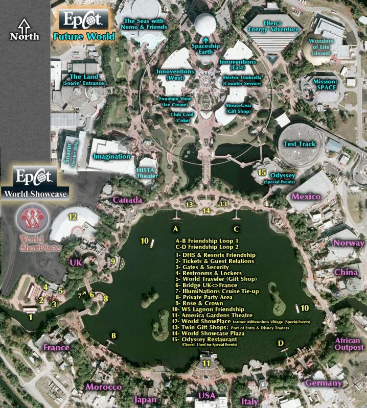 Map of Epcot Both Future World and