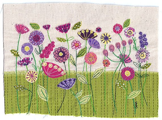 Unframed print of original textile artwork Spring Flowers. Size: A4 (210x297mm / 8.26x11.7inch)  The image is of a meadow of brightly coloured flowers in pink, purple, yellow and green.  The original artwork was made by free-motion machine embroidery - cutting pieces of fabric and stitching them together on a sewing machine with a special attachment that allows me to draw with the thread. The Spring Flowers print is excellent quality and shows the texture of the fabric and stitching so its…
