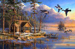 Jarní příjezdy, mary pettis, malířství, sunrise, kachny, létajících, lesní, jezero, dům