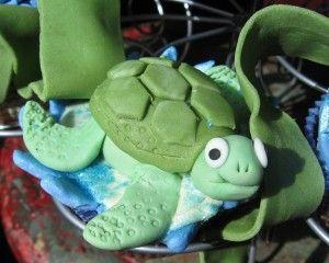 gluten free ocean themed cupcake tower - fondant turtle