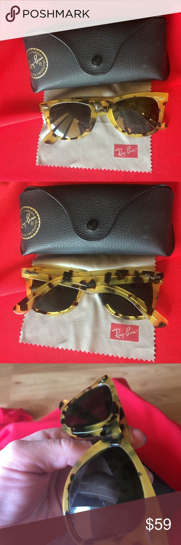 Women's Ray Ban Sunglasses ☀️☀️ Women's wayfarer Ray Ban Sunglasses. Golden Brown tortoise shell frames. Has some light scratching on lenses and frames. Includes case and soft cloth Ray Ban Accessories Sunglasses