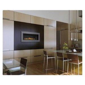 modern napoleon fireplace in kitchen