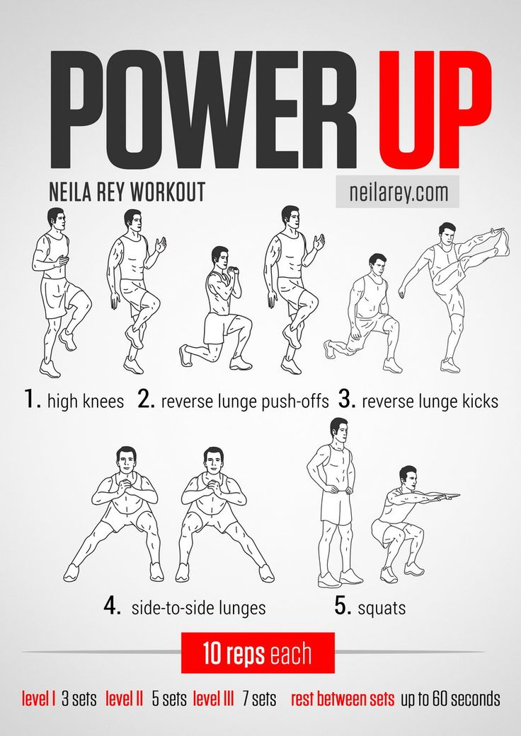 Power Up Workout / Works: lower abs, quads, hamstrings, adductors, glutes, aerobic capacity