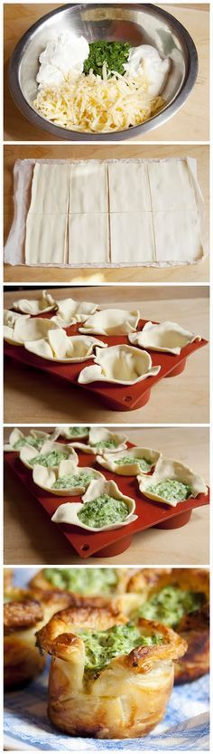 Puff Pastry Spinach Cups: puff pastry, frozen spinach, sour cream, cream cheese, garlic cloves, cheese, grated salt and black pepper, oil