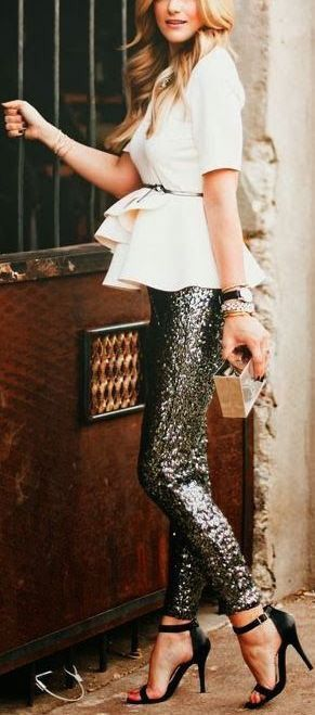 Sequin pants + peplum top.