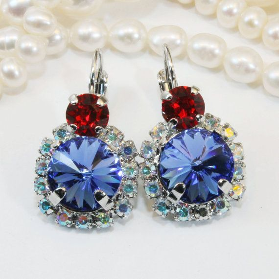 Red Blue White Earrings Patriotic 4th of July AB Swarovski Crystal Sapphire Red Texas Rangers Drop Halo Dangle Earring,Silver,Sapphire,SE102