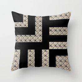 Black and Tan Art Deco Throw Pillow #throwpillow #pillow #interior #artdeco #geometric #contemporary #retro