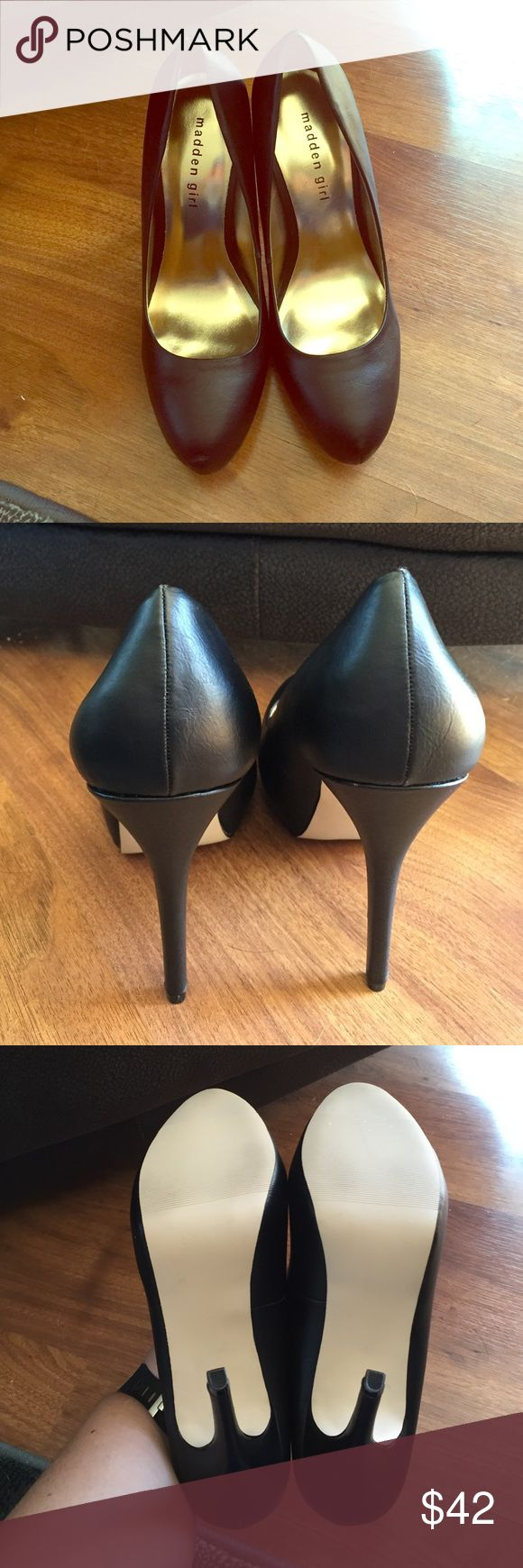 """NWOT Black Leather Heels NWOT Madden Girl Black Leather Heels. Size 9. Excellent condition. Never worn. About 4.5"""" heels. Classic leather heeled shoes, perfect with any outfit! 💜 Madden Girl Shoes Heels"""